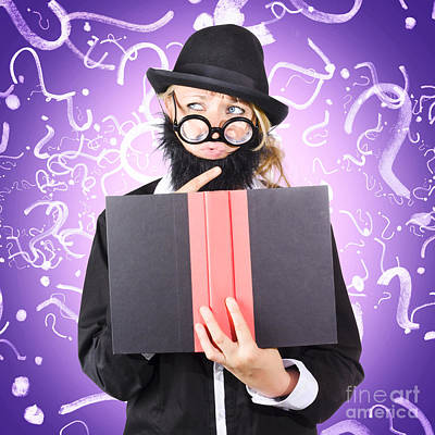 Question Man Reading Puzzle Solving Book Poster