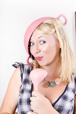 Quirky Housework Girl Singing Kitchen Karaoke Poster