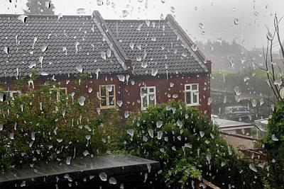 Rain Drops On Window Poster by Victor De Schwanberg