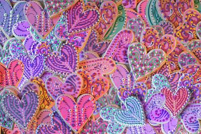 Rainbow Henna Heart Cookies Poster by Alixandra Mullins