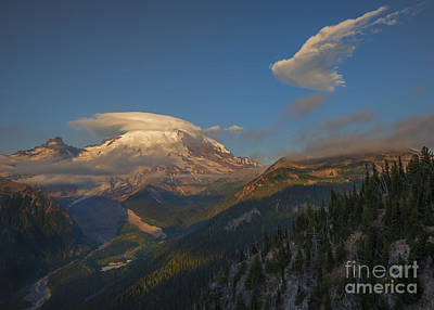Rainier Capped Poster by Mike  Dawson