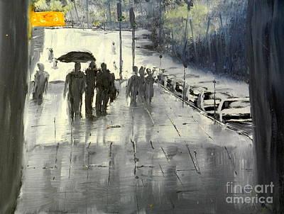 Rainy City Street Poster by Pamela  Meredith