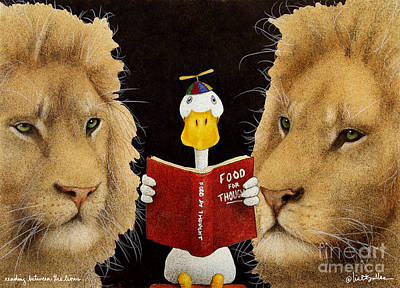 Reading Between The Lions... Poster by Will Bullas