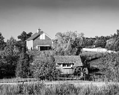 Red Barn And Water Mill On Farm In Maine Poster