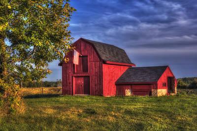 Red Barn In Autumn Poster by Joann Vitali