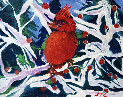 Red Bird Poster by Julie Todd-Cundiff