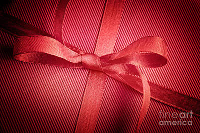 Red Bow On Present Poster by Mythja  Photography