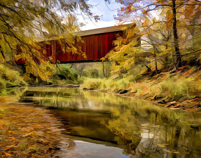 Red Covered Bridge Poster by Jeff Burton