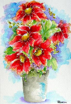 Poster featuring the painting Red Flowers by Patrice Torrillo