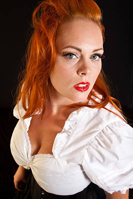 Red Hair Girl In Pin-up Style Portrait Shot In Studio Poster by Jean Schweitzer