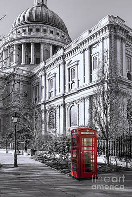 Red Phone Box At St Pauls Cathedral London Poster by Philip Pound