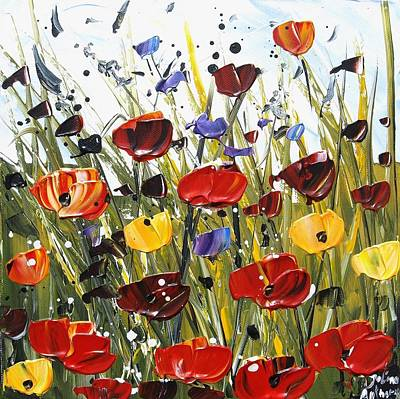 Red Poppifield Poster by Jolina Anthony