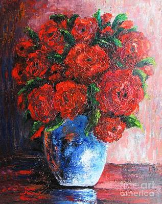 Poster featuring the painting Red Scent by Vesna Martinjak