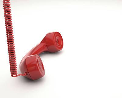 Red Telephone Handset Poster by Ktsdesign