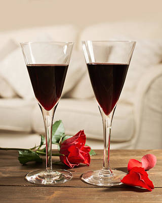 Red Wine And Roses Poster by Amanda Elwell