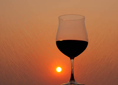 Red Wine At Sunset Poster by Martin Belan