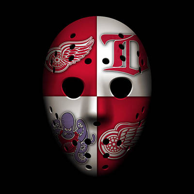 Red Wings Goalie Mask Poster