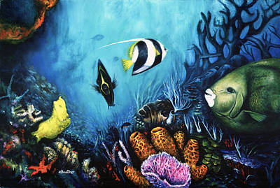 Poster featuring the painting Reef Dwellers by Lynn Buettner