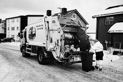 refuse collection during winter Honningsvag finnmark norway europe Poster by Joe Fox