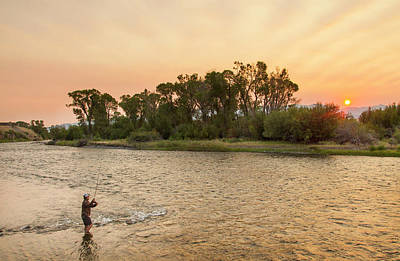 Reid Sabin Fly Fishing At Sunrise Poster by Chuck Haney