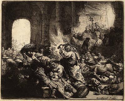 Rembrandt Van Rijn Dutch, 1606 - 1669, Christ Driving Poster by Quint Lox