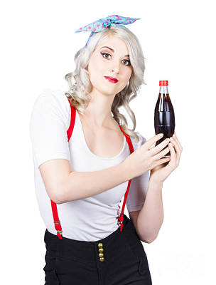 Retro Blond Woman With A Bottle Of Soda Poster by Jorgo Photography - Wall Art Gallery