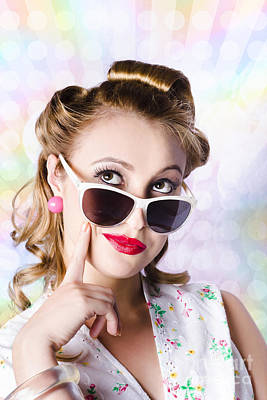 Retro Glam Model On Colourful Disco Dots Poster by Jorgo Photography - Wall Art Gallery