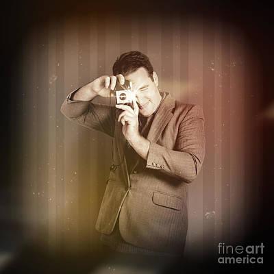 Retro Photographer Man Taking Photo With Camera Poster