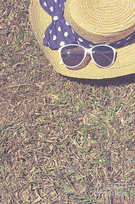 Retro Picnic On Meadow With Copy Space For Text Poster by Jorgo Photography - Wall Art Gallery