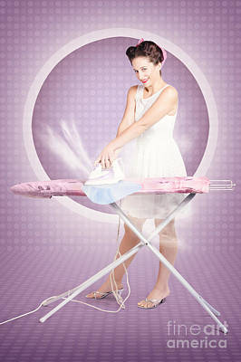 Retro Pin-up Lady Doing Ironing In 50s Fashion Poster by Jorgo Photography - Wall Art Gallery