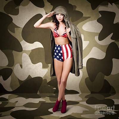 Retro Pinup Girl In American Army Lingerie Poster by Jorgo Photography - Wall Art Gallery