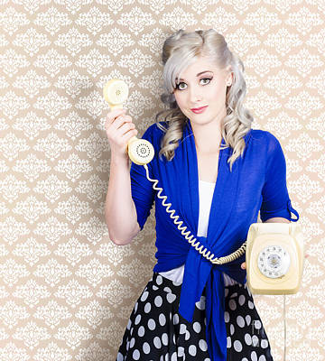 Retro Portrait Of A Woman Talking On Vintage Phone Poster by Jorgo Photography - Wall Art Gallery