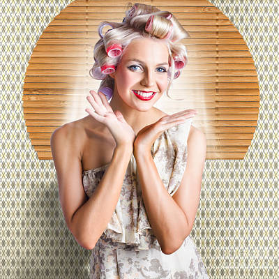 Retro Woman At Beauty Salon Getting New Hair Style Poster