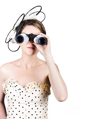 Retro Woman Looking Through Binoculars Poster by Jorgo Photography - Wall Art Gallery