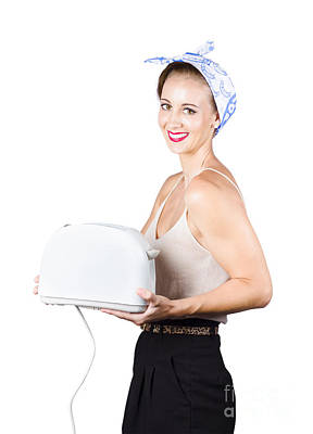 Retro Woman With Toaster Poster