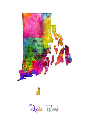 Rhode Island Watercolor Map Poster by Michael Tompsett