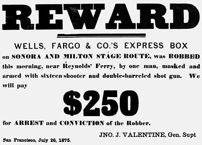 Robbery Reward, 1875 Poster by Granger