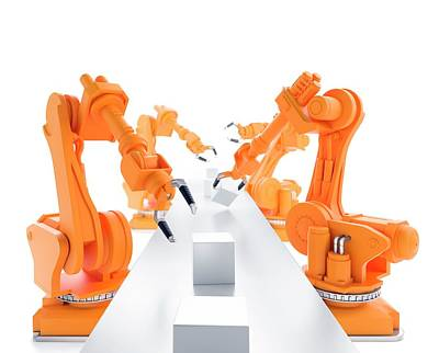 Robots On Production Line Poster