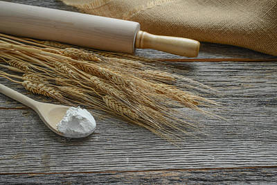Rolling Pin With Wheat And Spoon With Flour Poster