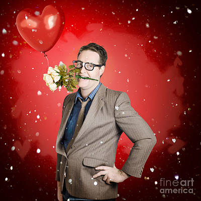 Romantic Valentine Man Holding Flowers On Date Poster by Jorgo Photography - Wall Art Gallery