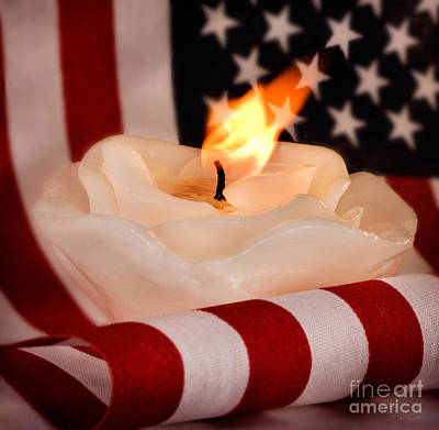 Rose Candle On American Flag Poster by Iris Richardson