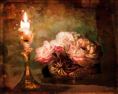 Roses By Candlelight Poster by Theresa Tahara