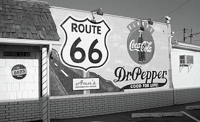 Route 66 - Mural With Shield Poster by Frank Romeo