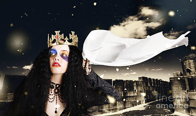 Royal Damsel In Distress Waving White Castle Flag Poster by Jorgo Photography - Wall Art Gallery