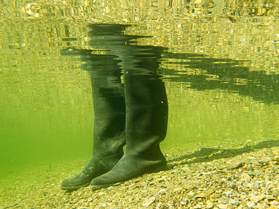 Rubber Boots Or Gumboots Underwater On Sand Ground Poster by Stephan Pietzko