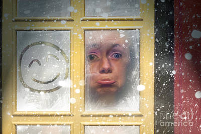 Sad Woman Stuck Indoors During Winter Snowstorm Poster