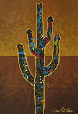 Poster featuring the painting Saguaro Gold by Lance Headlee