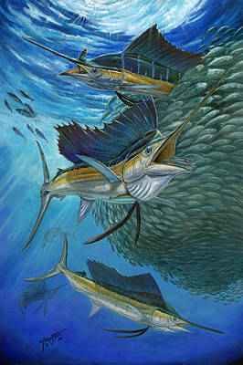 Sailfish With A Ball Of Bait Poster by Terry  Fox