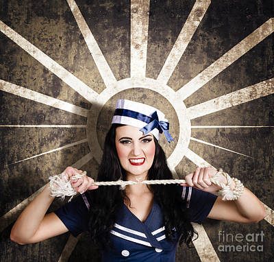 Sailor Girl Portrait. Vintage Design Background Poster by Jorgo Photography - Wall Art Gallery