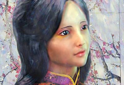Poster featuring the digital art Saint Anna Wang  by Suzanne Silvir